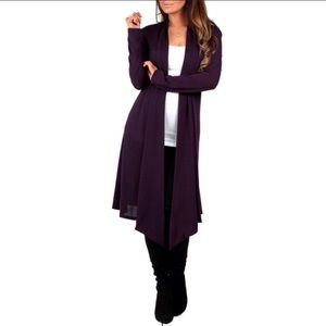 R&C  Knee Length Hacci Open Front Cardigan size 1X